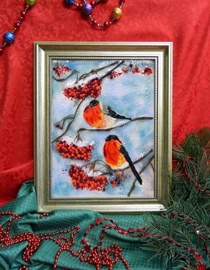 Картина из стекла «Снегири»