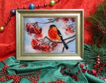 картина из стекла снегирь лучший оригинальный подарок на новый год
