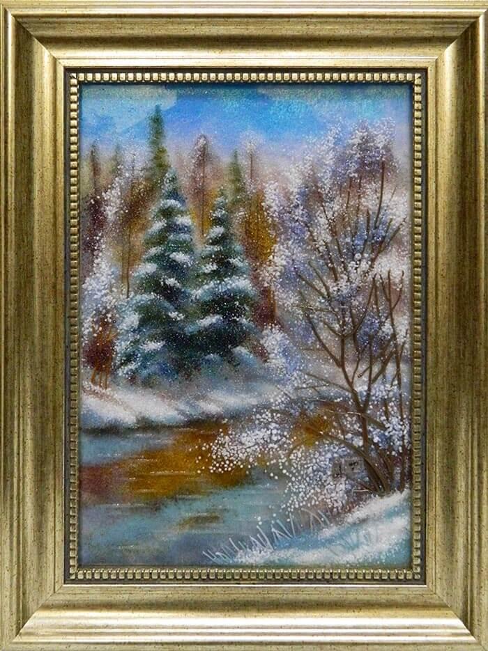 Пейзаж «Снежные хвои»
