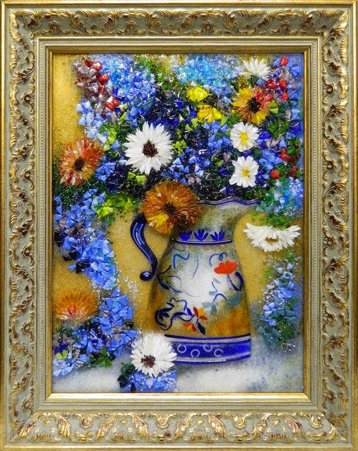 Картина из стекла «Букет летних цветов»