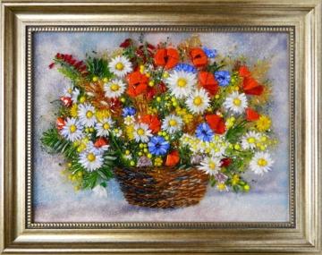 Картина из стекла «Корзинка цветов»