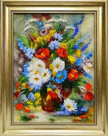 Картина из стекла «Пестрый букет»