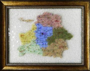 Картина из стекла «Карта Республики Беларусь»