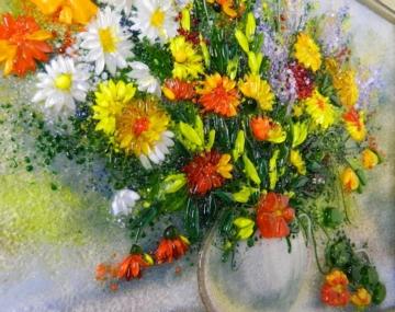 Картина из стекла «Натюрморт с красно оранжевыми хризантемами»
