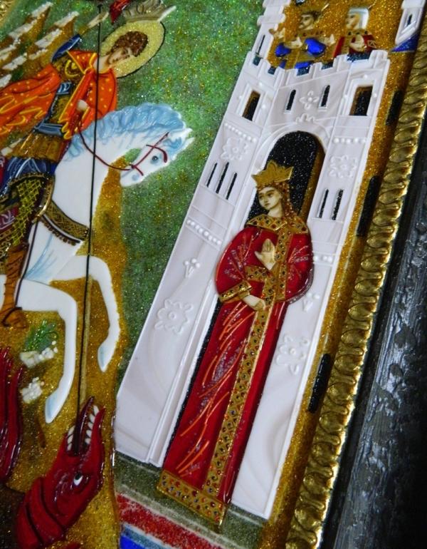 Икона из стекла «Чудо Святого Георгия о змие»