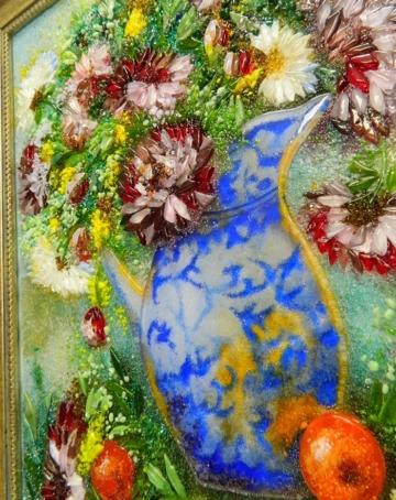 Картина из стекла «Натюрморт. Хризантемы в кувшине»