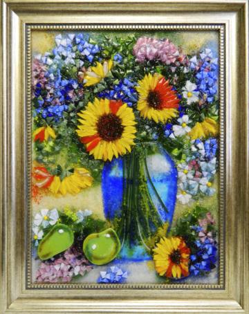 Картина из стекла «Подсолнухи в голубой вазе»