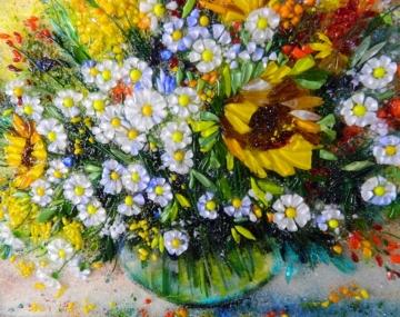 Картина из стекла «Натюрморт с ромашками и подсолнухами»