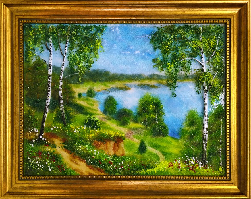Картина из стекла «Пейзаж. Березки на берегу»