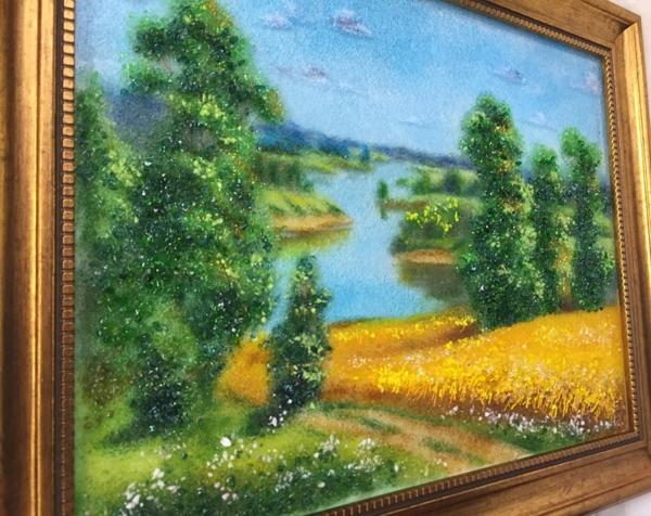 Картина из стекла «Пейзаж. Ржаное поле у реки»