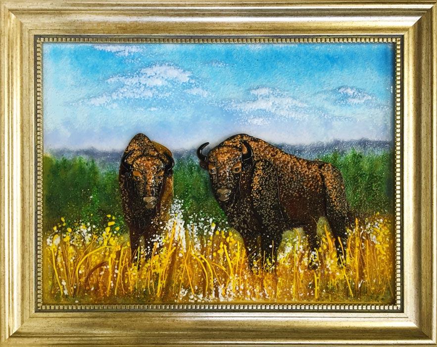 Картина из стекла «Зубры в поле»