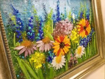 Картина из стекла «Поляна цветов»