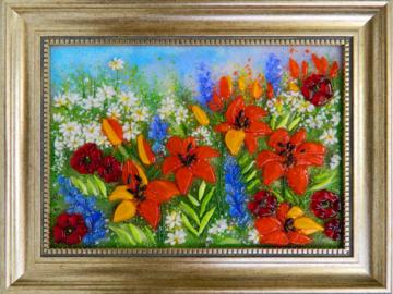 Картина из стекла «Оранжевые лилии»