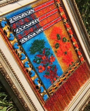 Картина из стекла «Слуцкий пояс с астрами»