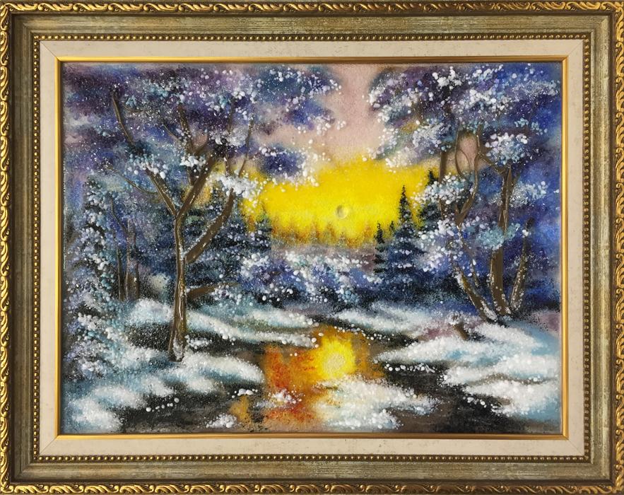 Картина из стекла «Зимний закат»
