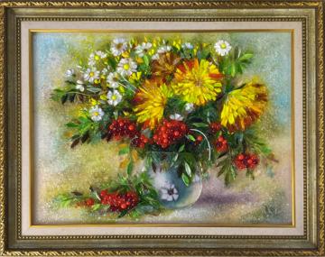 Картина из стекла «Осенний натюрморт с рябиной»