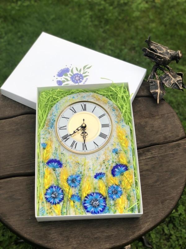 Часы из стекла «Васильки и пшеница»арка