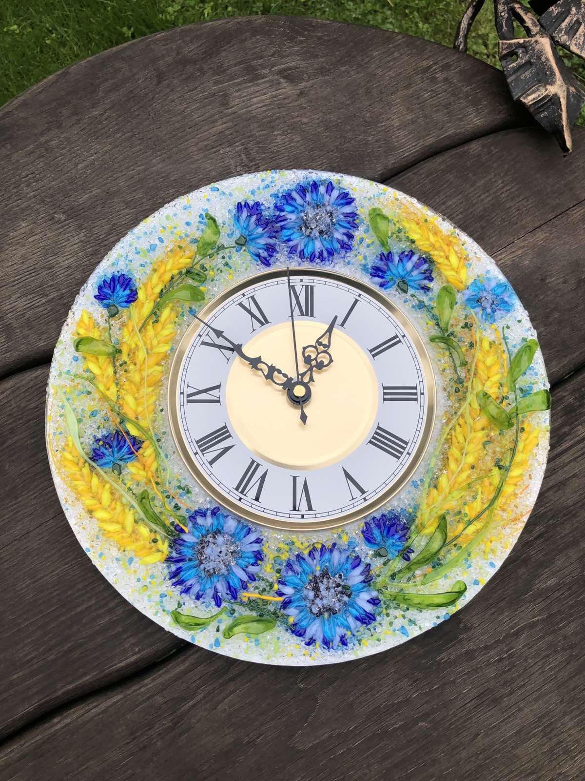 Часы из стекла «Васильки и пшеница» круглые