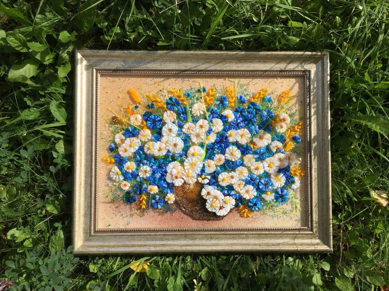 Натюрморт из стекла «Букет полевых цветов»