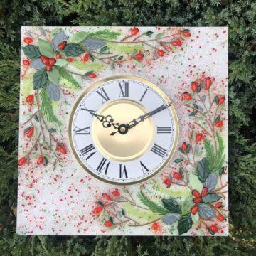 Часы из стекла «Новогодний венок» квадратные