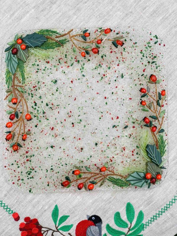 Квадратное блюдо из стекла «Новогодний венок»